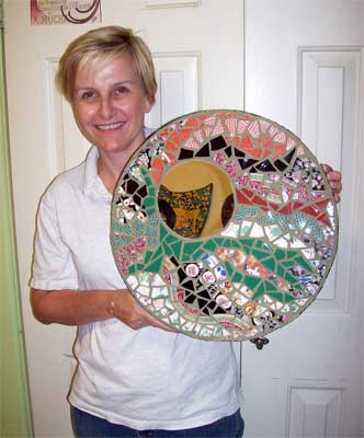 Susan with her finished mirror