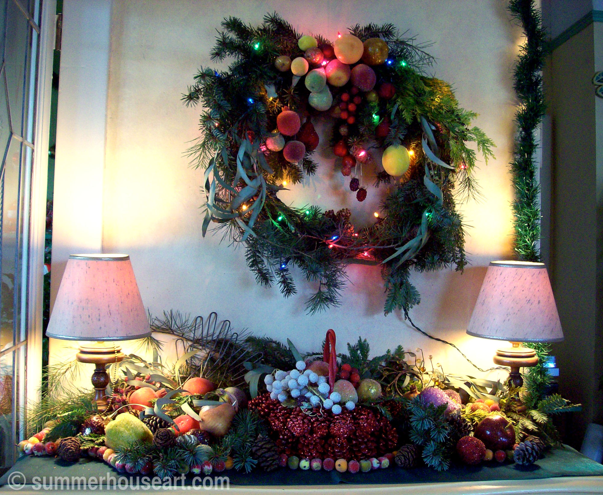 Evergreen Christmas display, summerhouseart.com