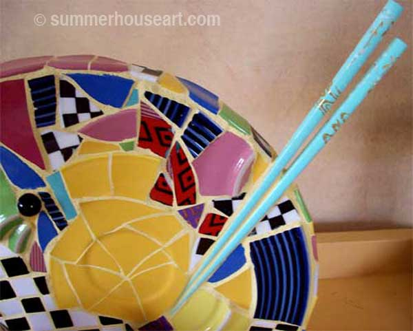 detail,Happy Trio Mosaic by Helen Bushell, summerhouseart.com