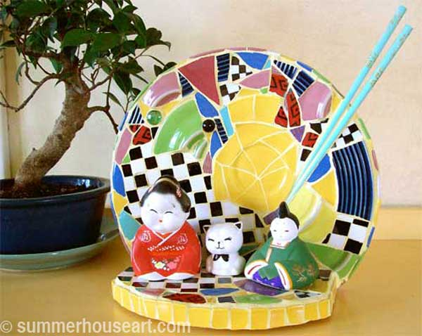 Happy Trio Mosaic by Helen Bushell, summerhouseart.com