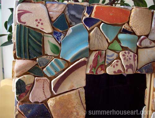 Laying out Beach Pottery shards, Summerhouseart.com