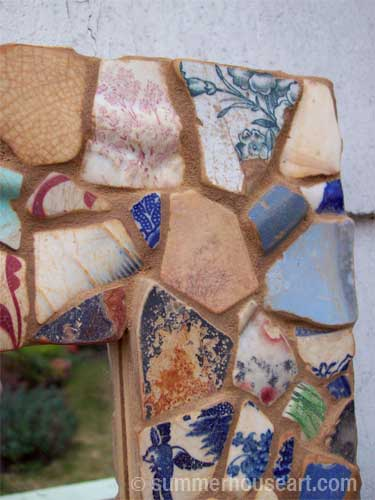 Mirror with Beach Pottery shards, Summerhouseart.com