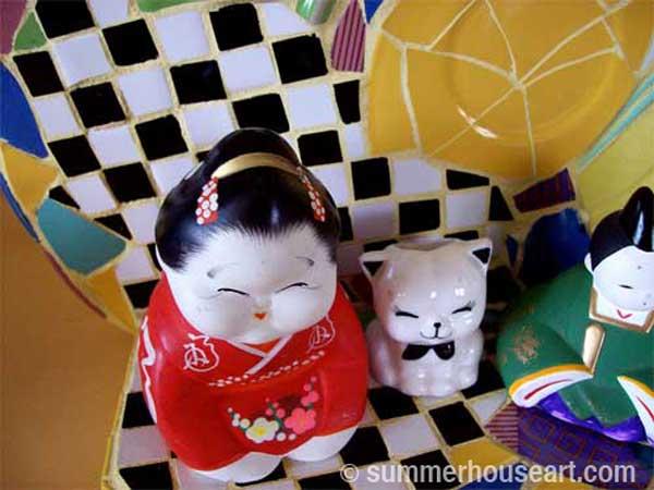 Happy Trio Mosaic by Helen Bushell, summerhouseart.com