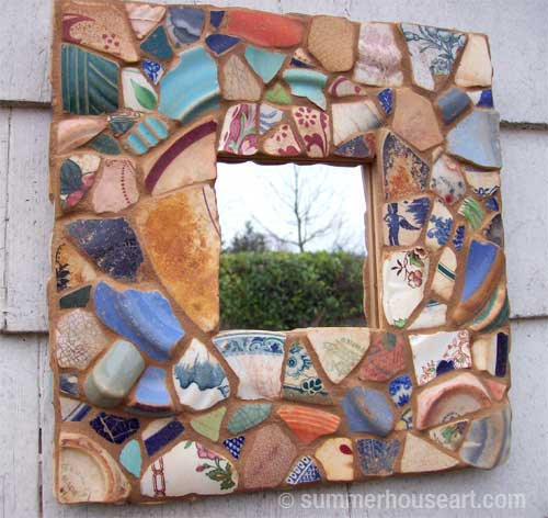 Mirror with Beach Pottery shards, by Helen Bushell, Summerhouseart.com