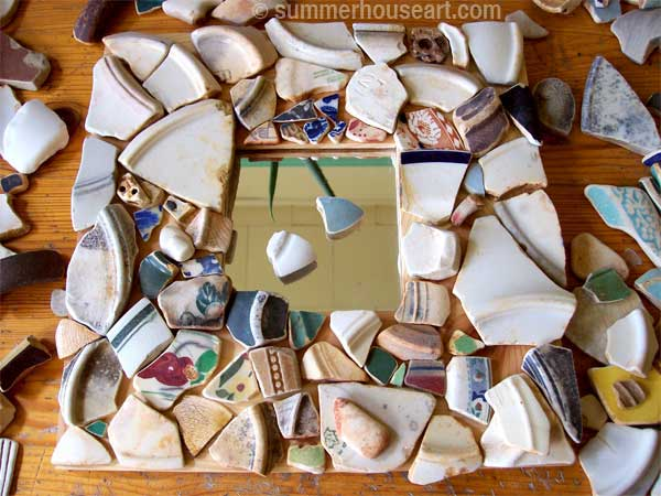 in progress, Pattern Beach Pottery mosaic Helen Bushell, summerhouseart.com