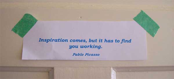Picasso quote on studio door, summerhouseart.com
