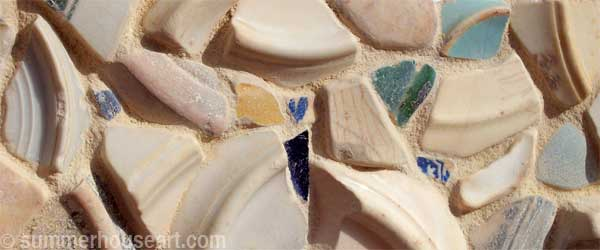 detail, Pale Beach Pottery mirror by Helen Bushell, summerhouseart.com