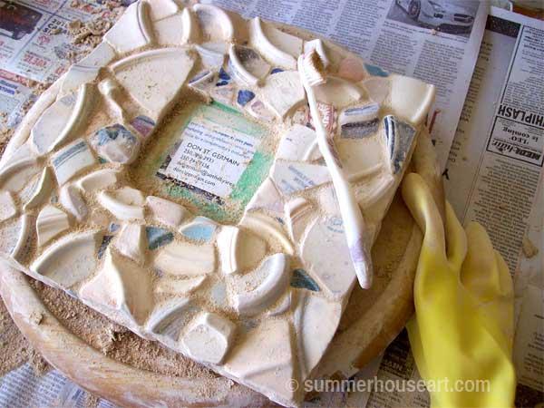 grouting, Pale Beach Pottery mirror by Helen Bushell, summerhouseart.com
