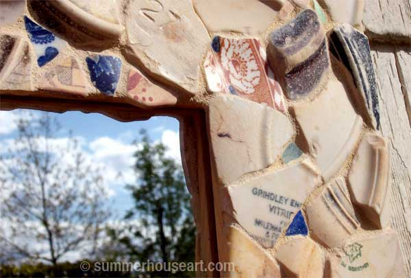 detail, Pale Beach Pottery mirror by Helen Bushell, summerhouseart.com