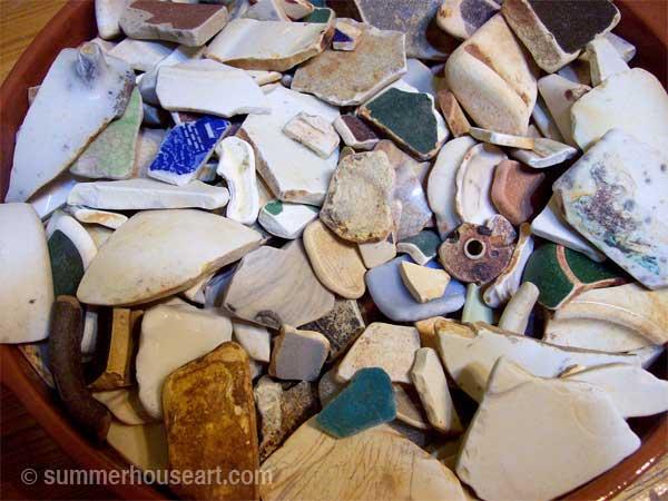 Beach Pottery shards, summerhouseart.com