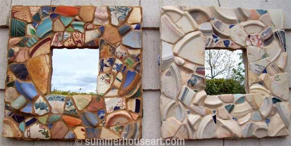 Pattern and Pale Beach Pottery mirrors by Helen Bushell, summerhouseart.com