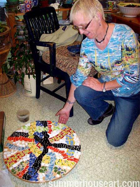 Student Della mosaic, Summerhouse Art mosaic class