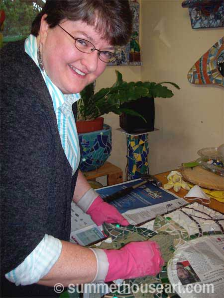 Student Fern at Summerhouse Art mosaic class