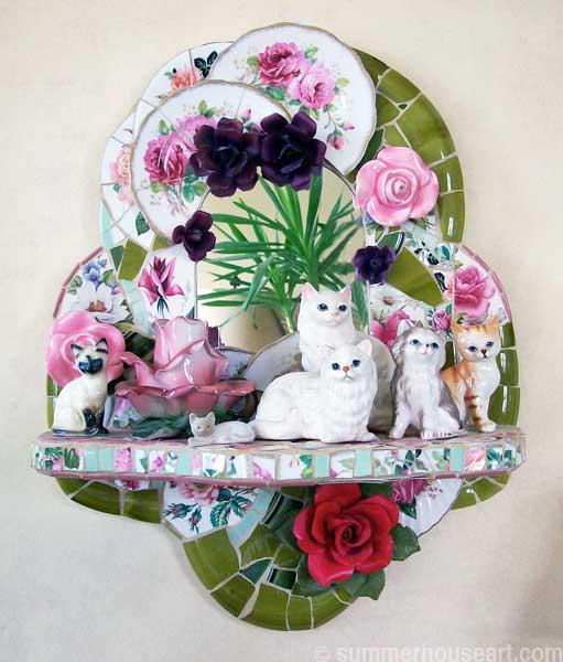Cats and Roses mosaic, Helen Bushell, summerhouseart.com