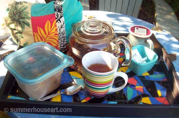 Mosaic Tray Helen Bushell summerhouseart.com