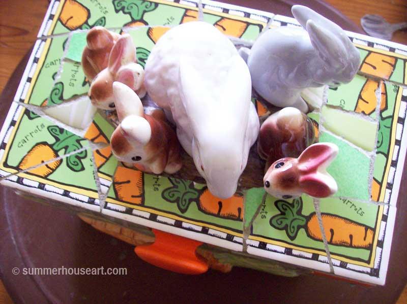 Gluing down ornaments on Bunny Box by Helen Bushell