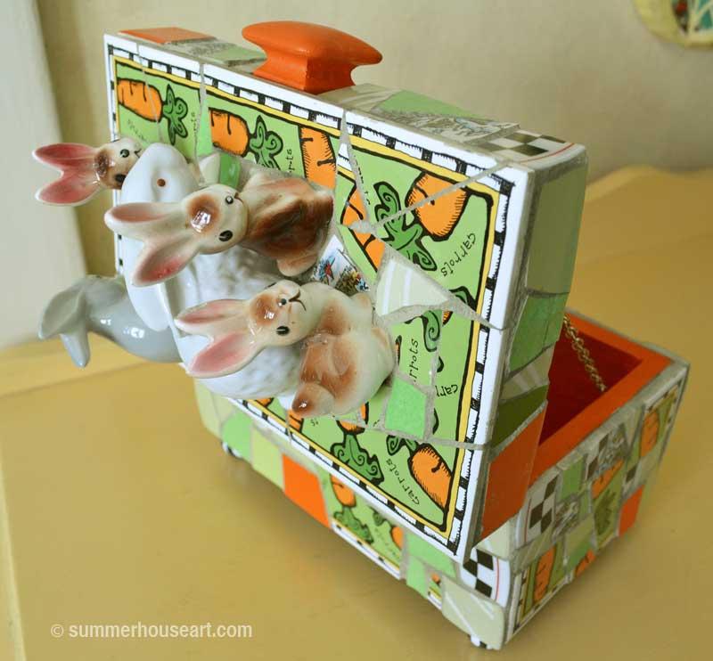 Mosaic Bunny Box Open by Helen Bushell summerhouseart.com