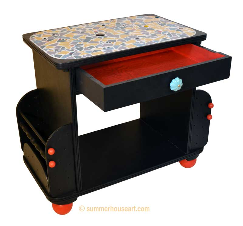 mosaic table with red drawer