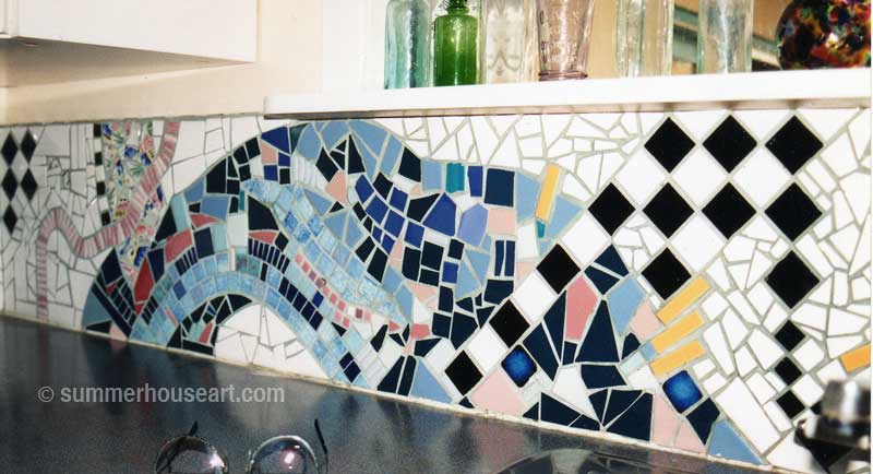 Kitchen back splash mosaic, Helen Bushell, summerhouseart.com