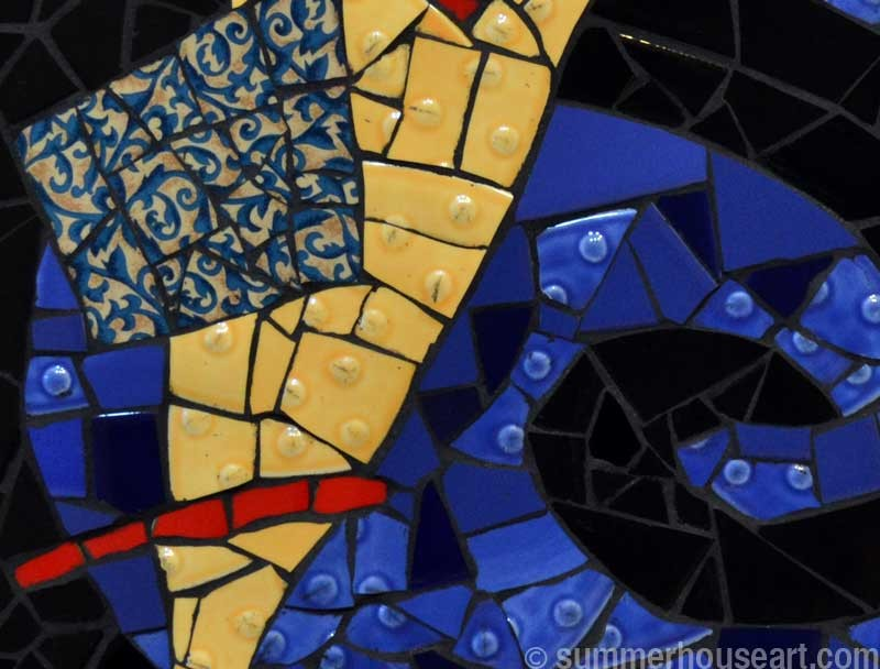 Yellow Wedge on Blue, Floating,  mosaic by Helen Bushell, summerhouseart.com