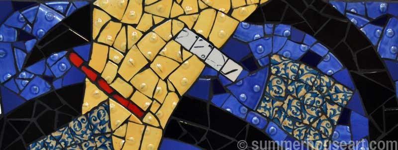 Yellow Wedge on Blue, Floating,  mosaic by Helen Bushell, summerhouseart.com
