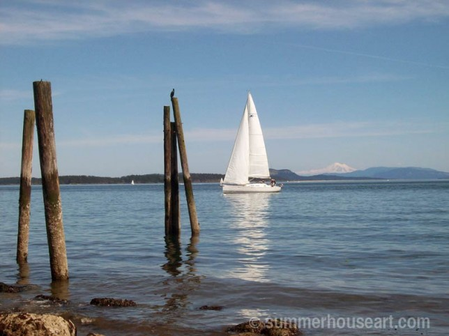 sailboat with Mt Baker in distance, summerhouseart.com