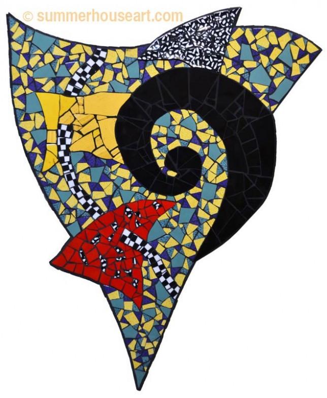 Black Spiral, Red  Triangle Mosaic Helen Bushell, summerhouseart.com