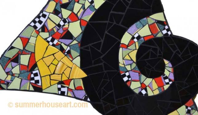 Black Spiral, Yellow Triangle Mosaic, Helen Bushell, summerhouseart.com