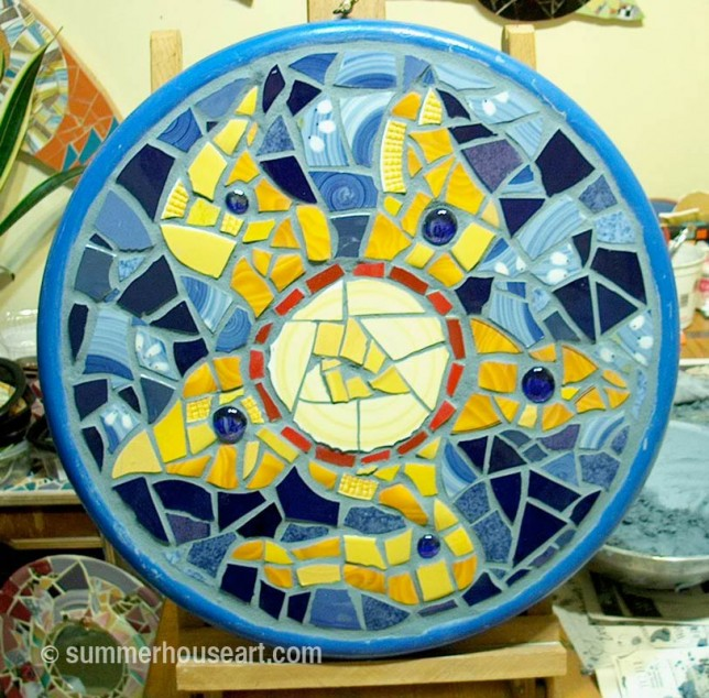 Student Murray's Tray from mosaic class Summerhouse Art