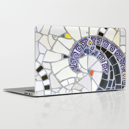 Blue fandango laptop skin Society6 by summerhouseart.com