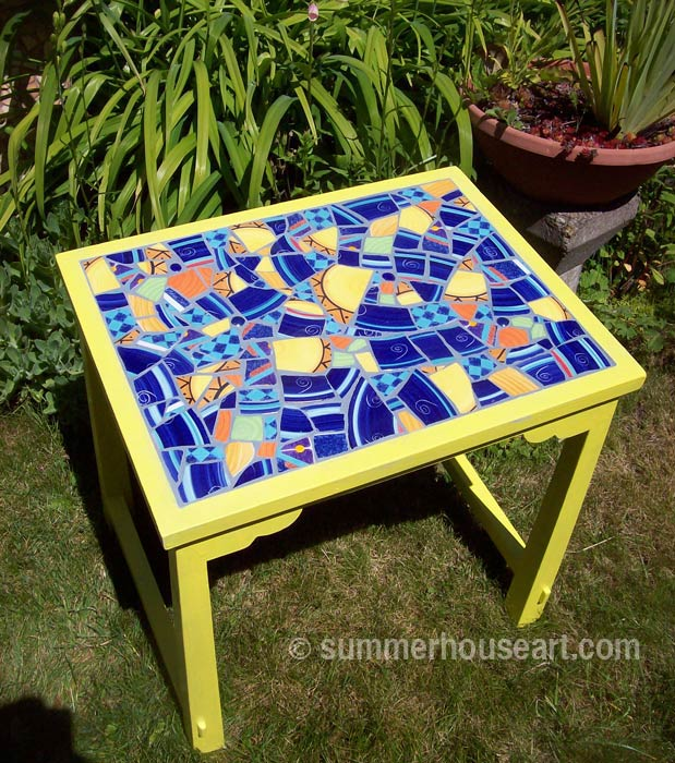 Student Bonnie's Mosaic Table, Summerhouse Art mosaic classes