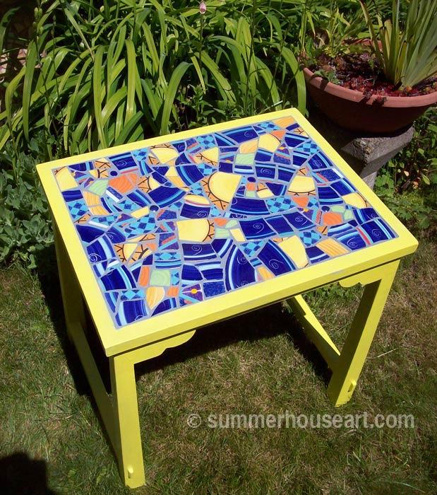 Student Bonnie's Mosaic Table, Summerhouse Art mosaic classes