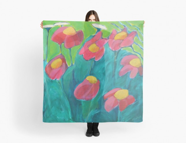 Painted Daisy scarf by Helen Bushell on Red Bubble
