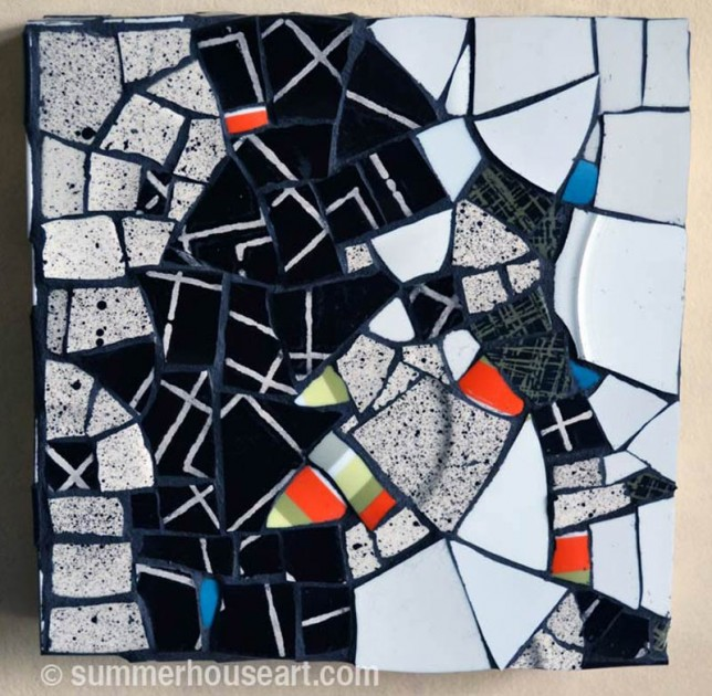 """Speckle and Stripe"" ,mosaic, by Helen Bushell, summerhouseart.com"