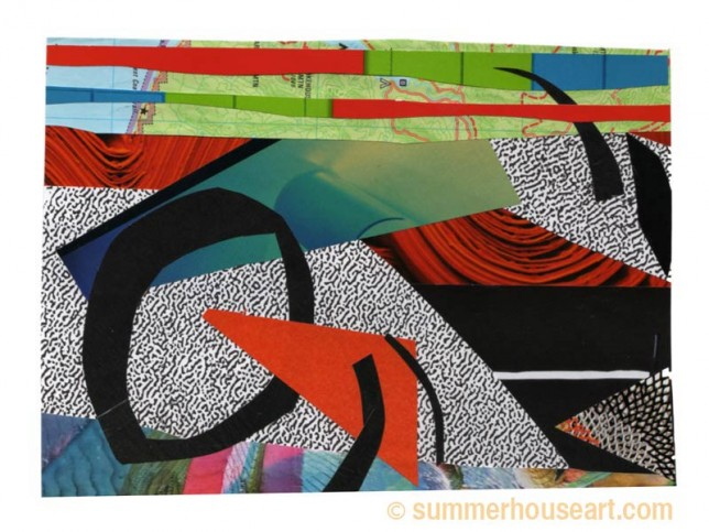 Map line with speckle, collage, by Helen Bushell, summerhouseart.com