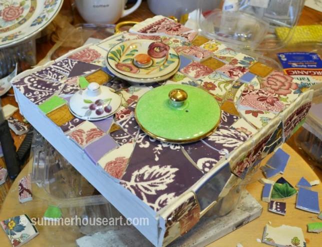 Floral Patchwork mosaic, Helen Bushell, summerhouseart.com