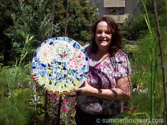 Student Jane with her lovely floral mosaic table top, summerhouseart.com