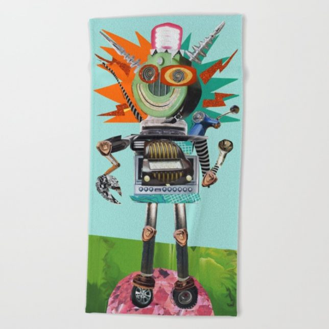 Radio Robot Beach towel on Society 6 by summerhouseart