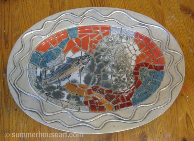 Mosaic Student Dianne's mosaic dish, ungrouted, summerhouseart.com