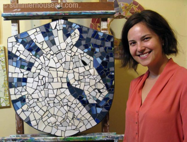 Student Jessica with finished mosaic, summerhouseart.com