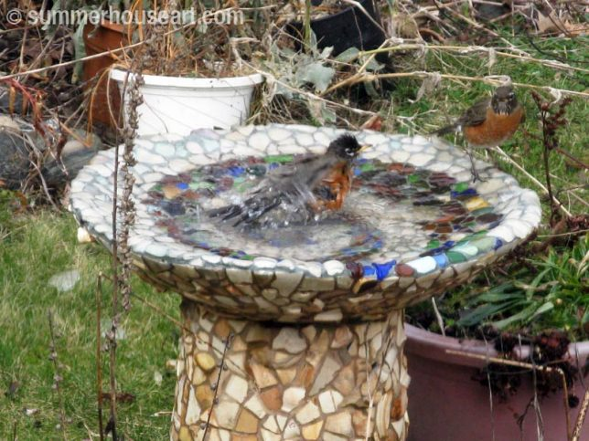 Mosaic Bird bath, summerhouseart.com