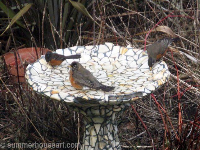 Mosaic Bird Bath, summerhouseart.com