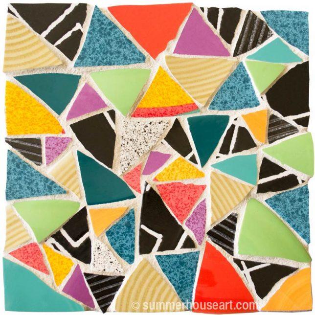Mosaic in Broken Dishes, Helen Bushell, summerhouseart.com