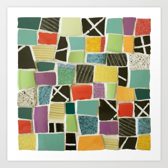 Square On mosaic-prints by Summerhouseart on Society 6
