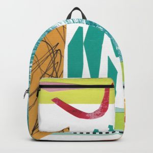 Collage by Helen Bushell, on backpack in Society 6 shop, summerhouseart