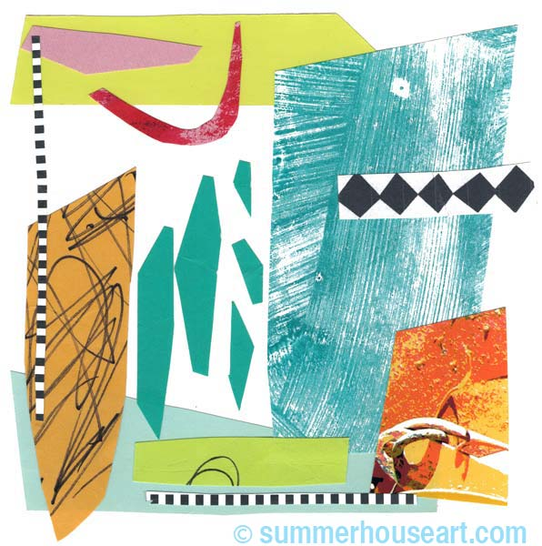"""Moving Parts"" collage by Helen Bushell, summerhouseart.com"