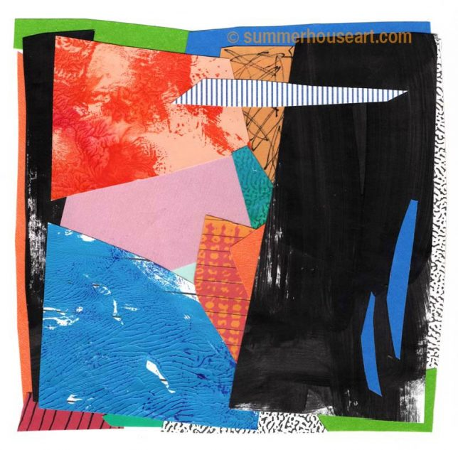 """""""Sidecar"""", paper collage, Helen Bushell, summerhouseart.com"""