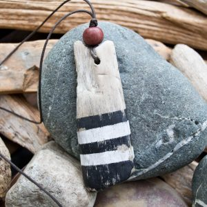 Driftwood Pendant with black and white stripe, Will Bushell, FoundMadeArt, Etsy