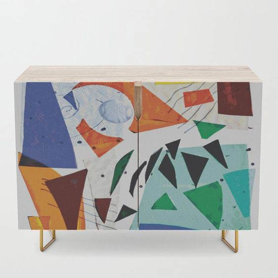 Blue and Orange Credenza by Summerhouse Art on Society 6