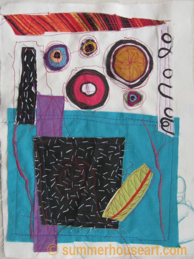 Free Motion Fabric collage by Helen Bushell, summerhouseart.com